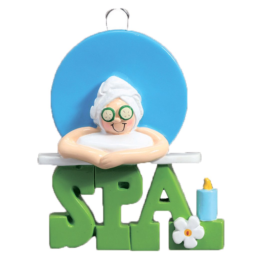 Personalized Spa Girl Christmas Ornament - Relaxed Woman in Steam Health Massage Towel Luxury Resort Cucumber Facial Candle - Love First Mineral Springs Spoiled Mom Beauty Mask - Free Customization