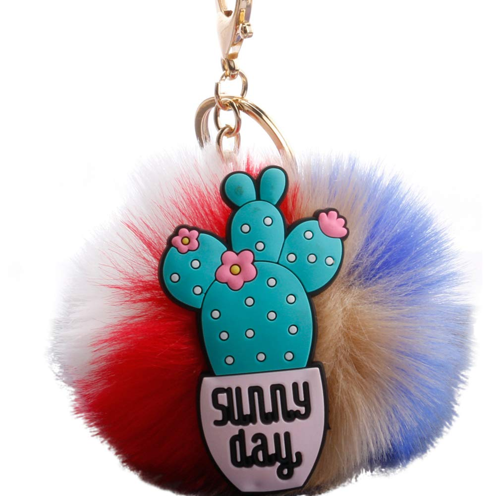 Slendima 3.15'' Lovely Silicone Cactus Fluffy Ball Keyring Car Key Chain Handbag Decor Gift 7#