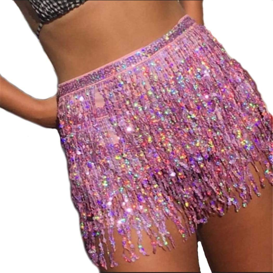 Reetan Boho Belly Skirt Purple Sequins Belly Dance Hip Scarf Tassel Fringe Skirt Rave Party Fashion Body Accessories for Women and Girls