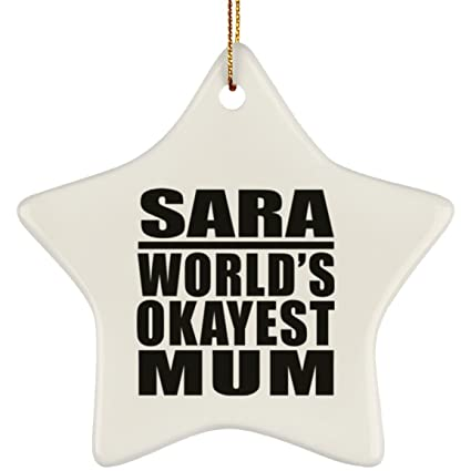 mother ornament sara worlds okayest mum star ornament xmas christmas tree decor ation best