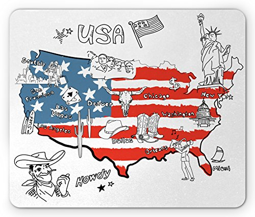 Lunarable American Mouse Pad, USA Flag Hand Drawn All States Cultural Heritage Howdy Texas Cowboy Themed, Standard Size Rectangle Non-Slip Rubber Mousepad, White Blue Red