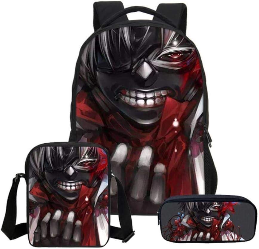 Set Tokyo Ghoul Combinaison Sacs /à bandouli/ère Enfants 3D Hommes Casual Sacs /à Dos /École Sac /à Dos pour Ordinateur Portable Twhoixi 3pcs