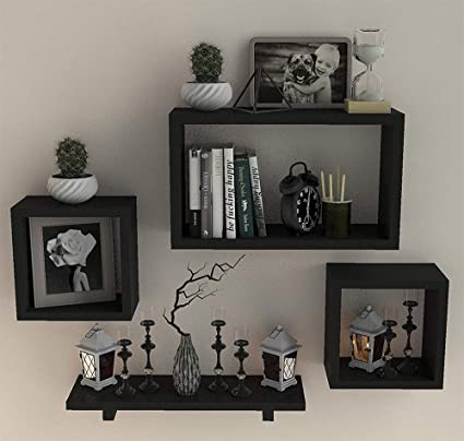 Fabulo Mdf Wall Shelves For Living Room Floating Shelf Home Decor Wall Mounted Bookcase Wooden Display Racks Bedroom Kitchen Walls Storage Unit Set Of 4 Black Amazon In Electronics