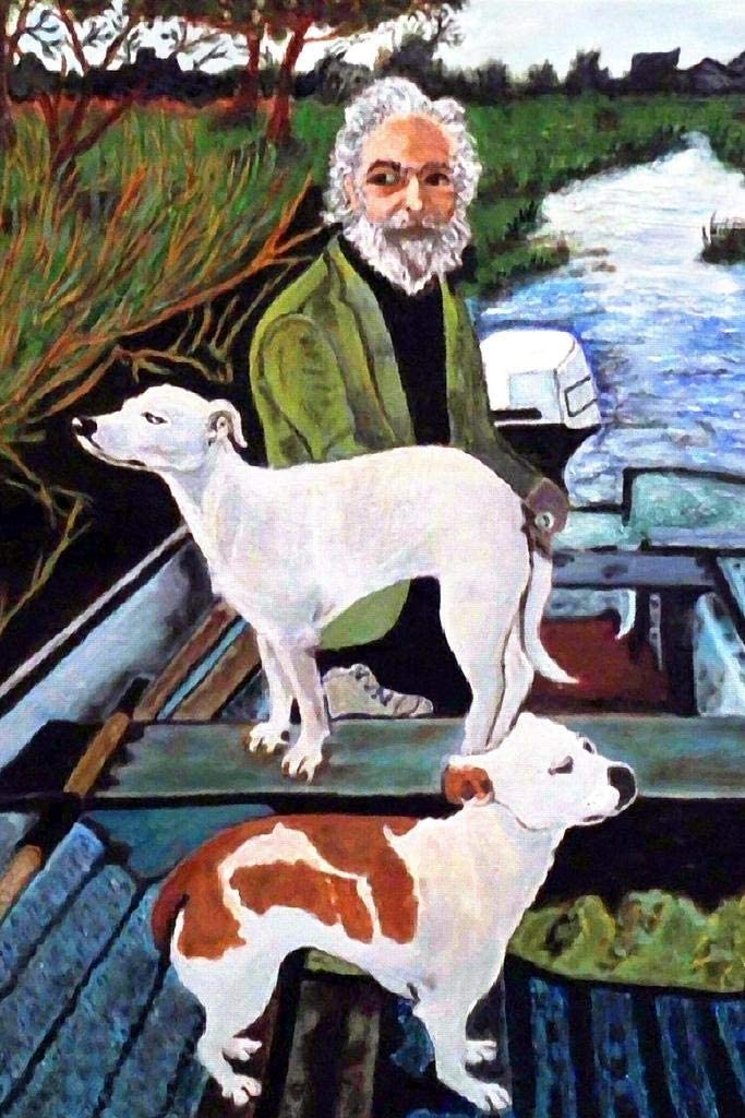 Man in Boat with Dogs Movie Painting Cool Wall Decor Art Print Poster 24x36