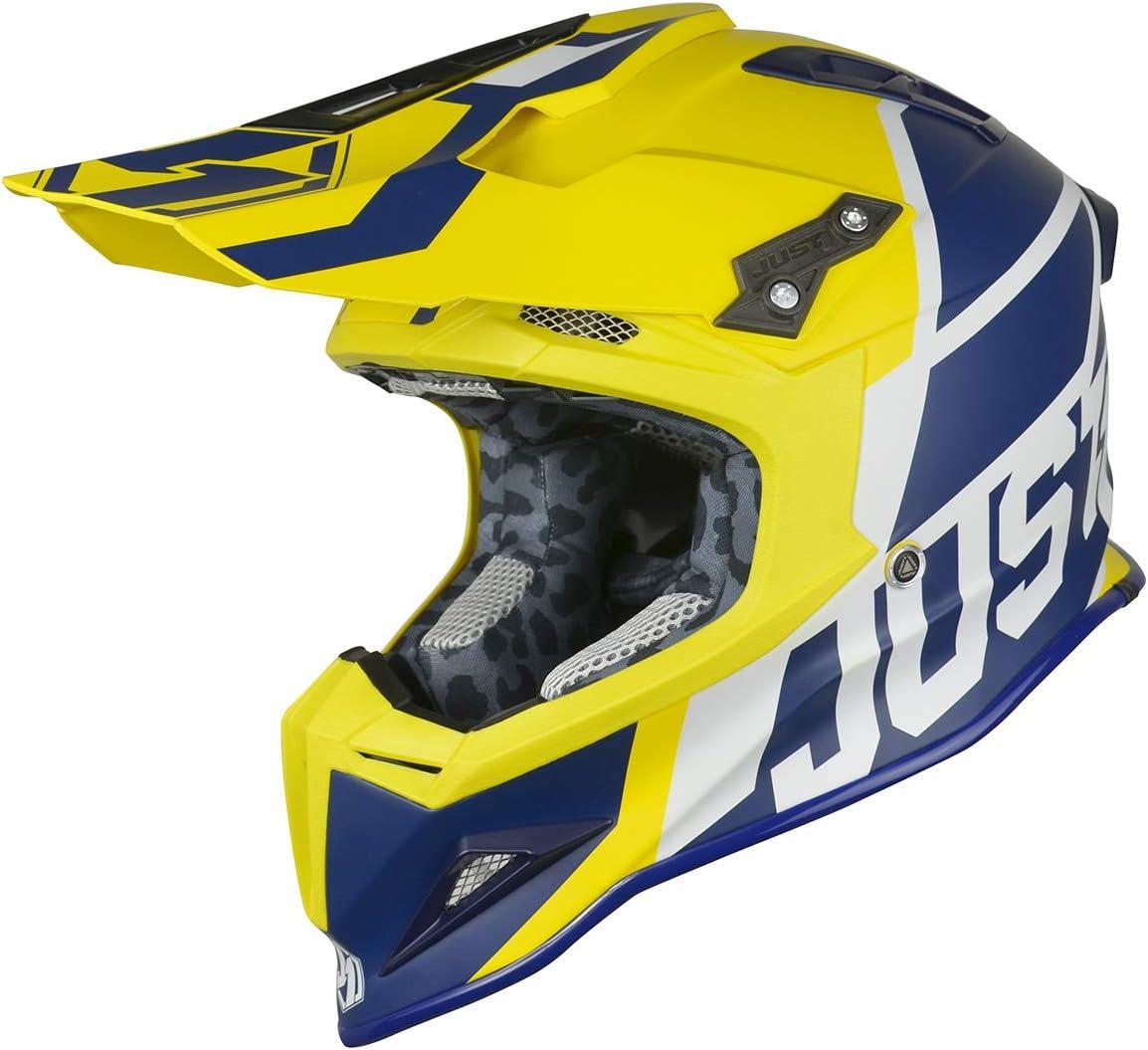 JUST1 J12 Unit Carbon Fiber Shell Off-Road Adult Motorcross Motorcycle helmet Flat White, Carbon Unit Blue Yellow-Large