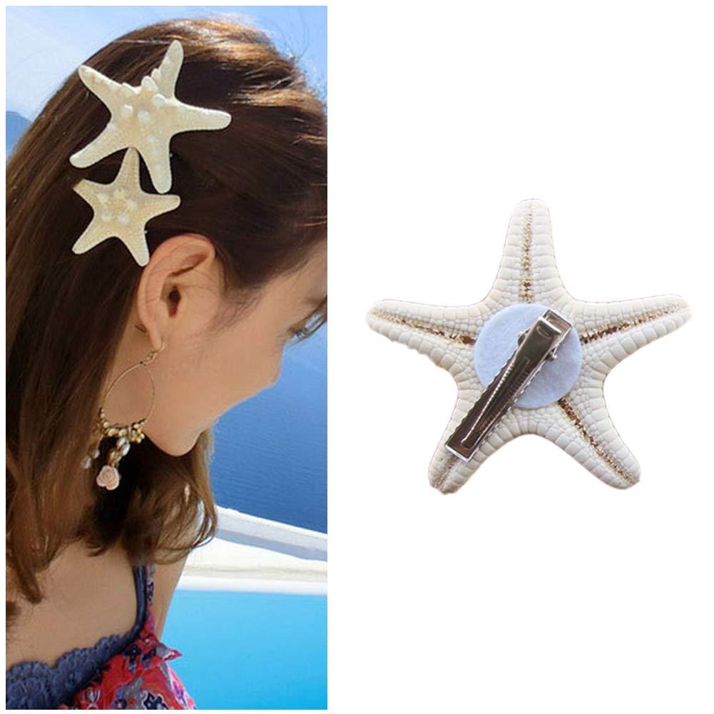 Doitsa 1x Blanco de Estrella de mar–Pinza para el Pelo Concha alfiler de Cabello Playa Loisirs Vacaciones–Gorro para niña