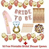 Rose Gold Bridal Shower Decorations and Games: 128Pcs Bachelorette Gifts Bride to Be Banner, Curtains Backdrop, Sash, Ring Foil, Confetti Balloons, Funny Straws, Table Confetti Party Favors Supplies
