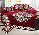 Ab Home Decor Floral Design Chenille Fabric Maroon Diwan set,Set of 8