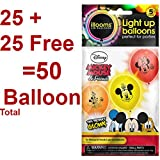KIDSTAB Pack of 25 LED Balloons for Party Festival Diwali Christmas, Assorted color