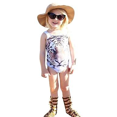 ada100a55a83 Amazon.com  KONFA Teen Baby Girls Tiger Print Swimwear Rompers ...