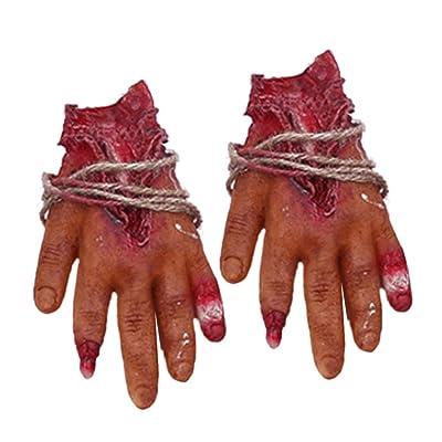 Amosfun 2pcs Halloween Mano Falsa Mano Mano sangrienta decoración Humana: Juguetes y juegos