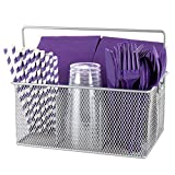 Ideal Traditions Utensil Mesh Caddy for Kitchen Condiments and Silverware – 4 Compartments - Elegant Silver Flatware Organizer - Holder for Spoons, Knives, Forks, Napkins, & More for Dining & Picnic