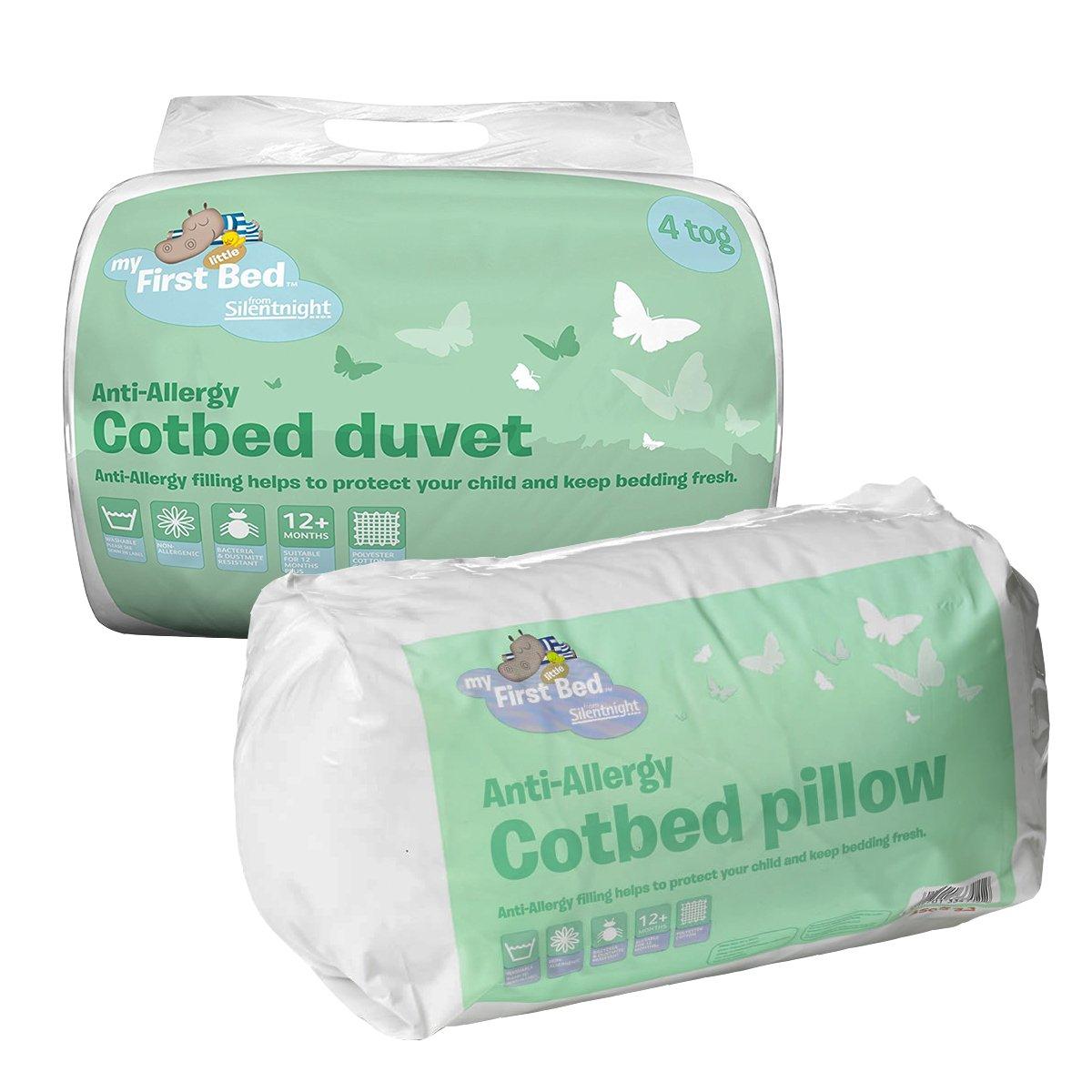 Silentnight Anti-Allergy Cot Bed Set - 4.0 tog Duvet & Pillow - Machine Washable