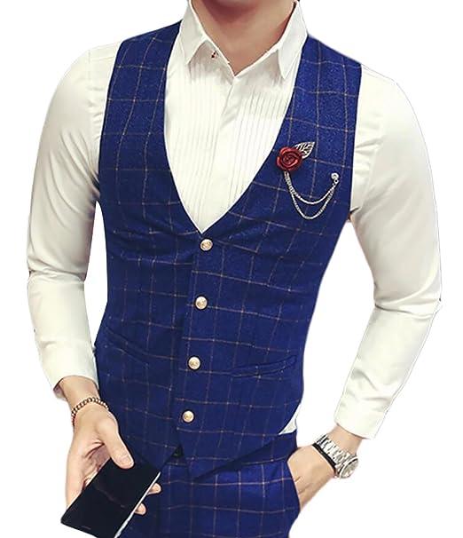 Uuyuk Mens Casual Plaid Unique Custom Vest Skinny Wedding Dress