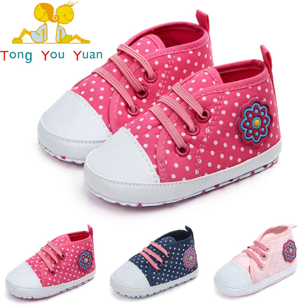 Togudot Baby Boys Girls Canvas Shoes Anti-Slip Toddler Sneakers for First Walkers 0-12 Months