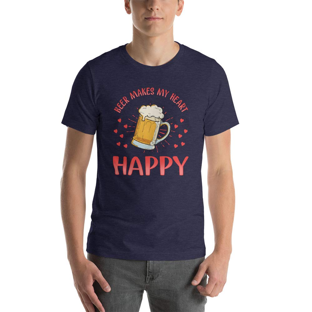 Alpha5StarDeals Beer Makes My Heart Happy Valentines Day Short-Sleeve Unisex T-Shirt