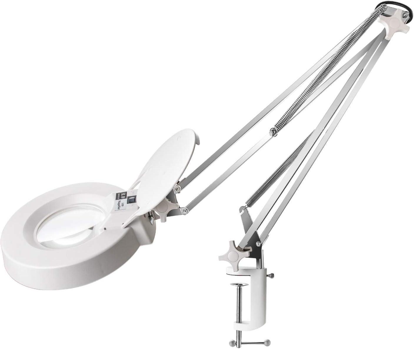 lámpara de aumento con abrazadera, aumento de 10x con 30 piezas de diodos/brazo de acero inoxidable/cubierta antipolvo, giratorio 360 ° ajustable para lectura, manualidades, soldadura y belleza