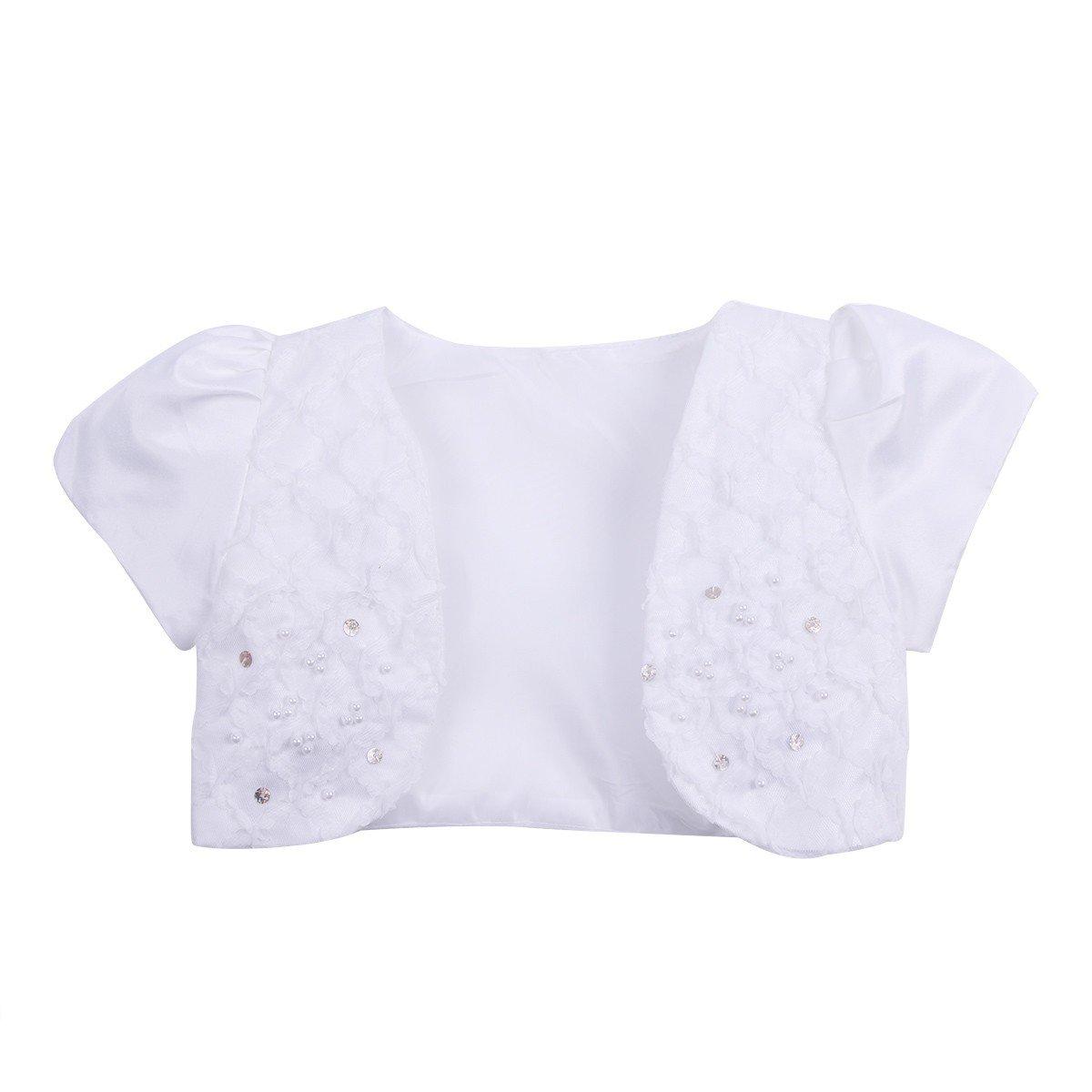 TiaoBug Girls Satin Lace Short Jacket Shrug Cardigan Shirt Dress Cover White 2-3