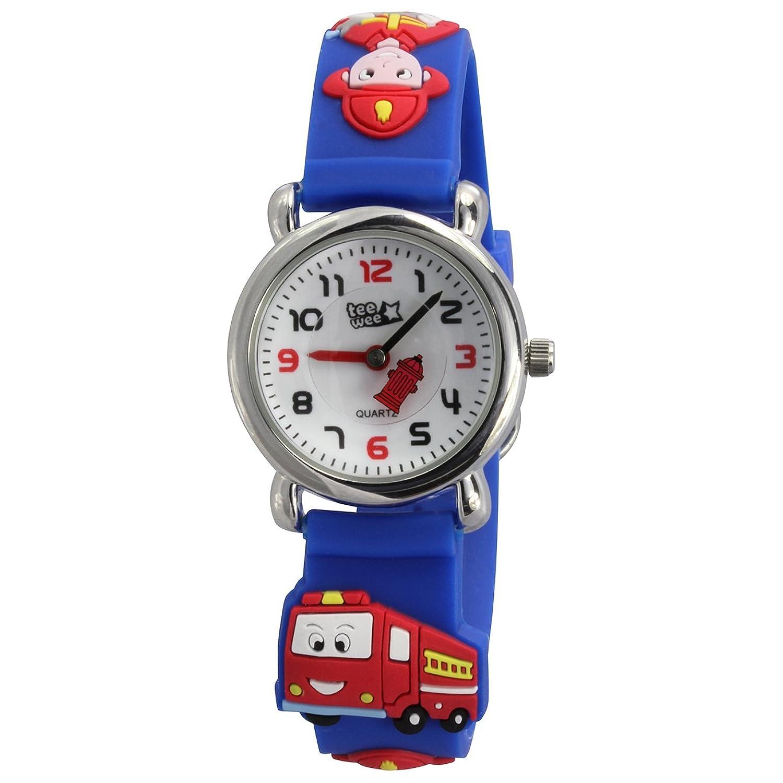 Armbanduhr kinder blau  Teenie-Weenie Kinderuhr blau Feuerwehr 3D Kautschukband Kinder ...
