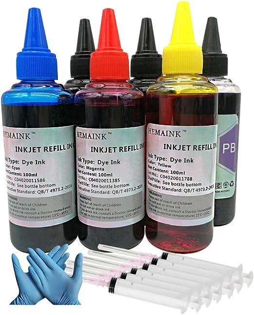 HEMAINK - 6 botellas de tinta compatibles con cartuchos de tinta Canon PGI-580XXL CLI-581XXL,Funciona con PIXMA ...