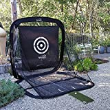 Spornia SPG-5 Golf Practice Net - Automatic Ball Return System W/ Target sheet, Two Side Barrier, and EverGolf Turf Hitting Mat Bundle