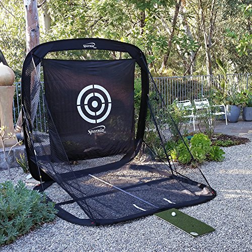 Spornia Golf Practice Net – Automatic Ball Return System W/ Target sheet, Two Side Barrier, and EverGolf Turf Hitting Mat Bundle