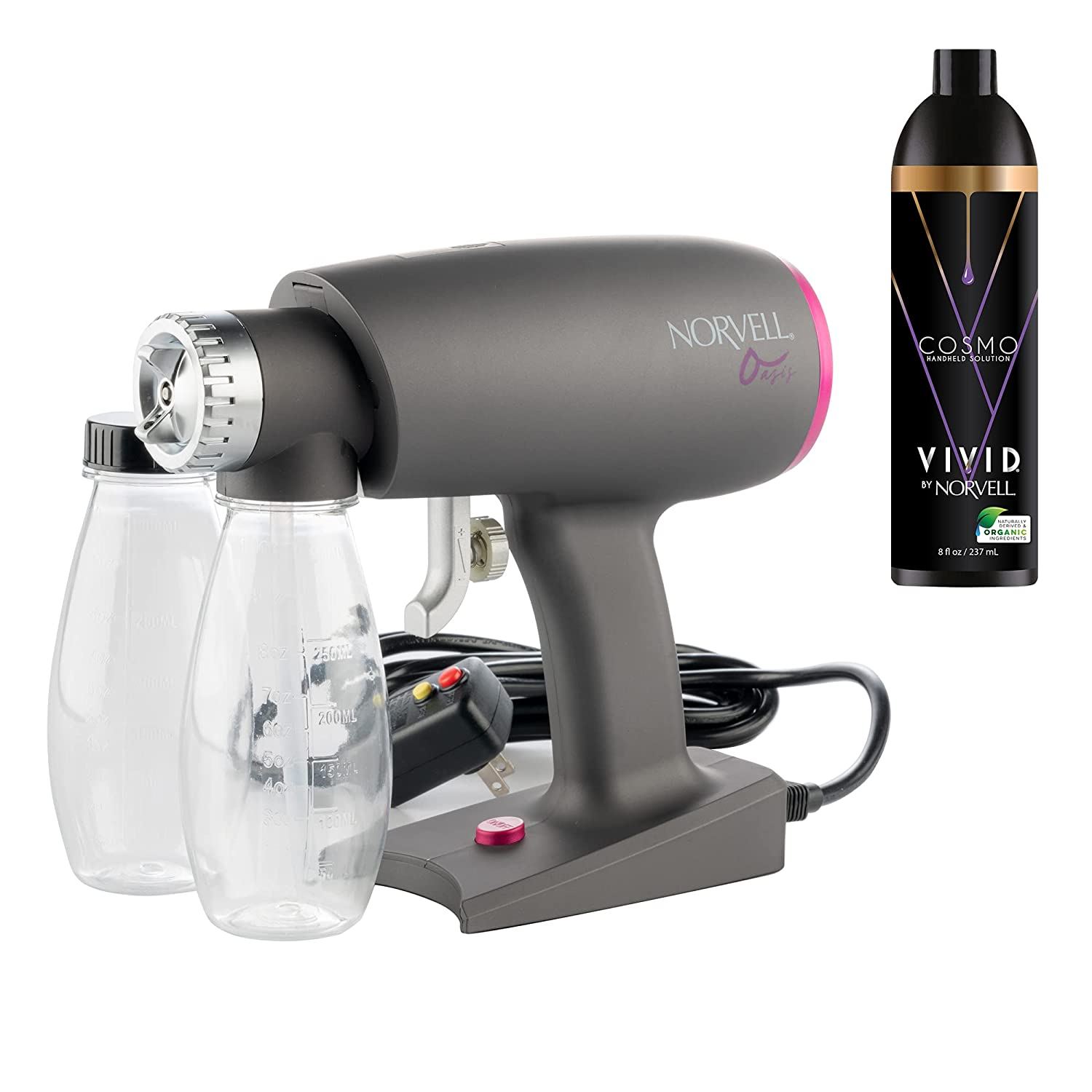 Oasis Spray Tan Machine Kit with Norvell Cosmo Airbrush Spray Tanning Sunless Solution Bundle (2 Items)