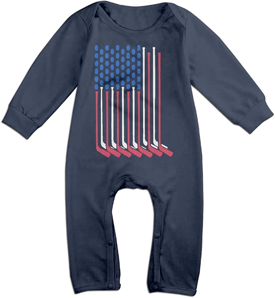 Mri-le1 Baby Girls Coverall Hockey American Flag Infant Long Sleeve Romper Jumpsuit