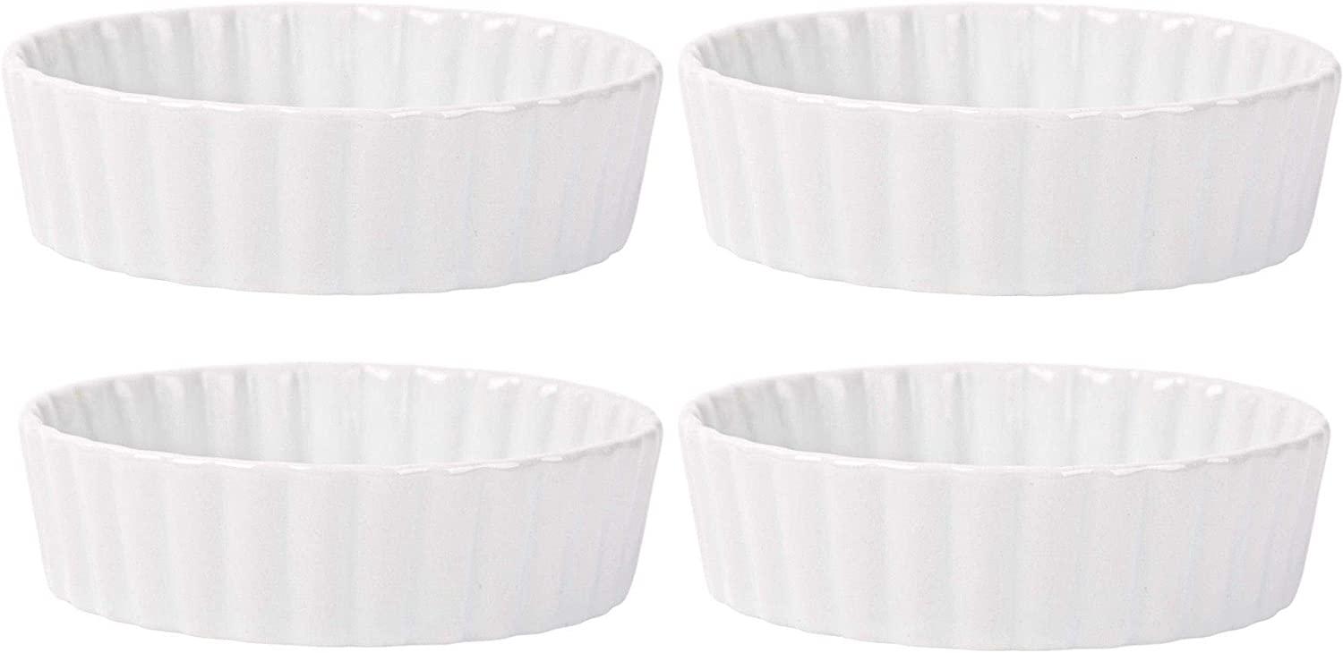 Home Essentials 15246 Fiddle and Fern Round Ruffle Mini Bakers, Set of 4, 5-inch Diameter, White