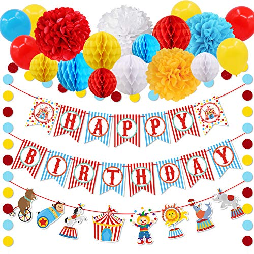 30pcs Carnival Circus Party Decorations Supplies, Carnival Birthday Party Ideas, Circus Happy Birthday Banner Balloons Tissue Paper Flowers Pom Poms Honeycomb Ball Circle Dots, Hanging Garland Banner for Circus Birthday Baby Shower Clown Backdrop Supplies]()