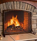 Arched Top Flat Guard Fireplace Screen, Large - Bronze
