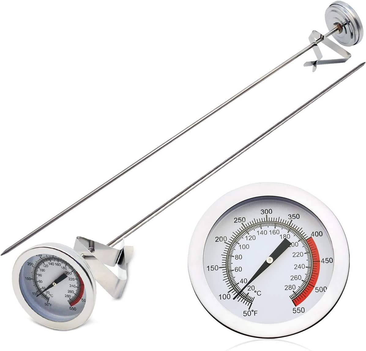 "KT THERMO Cooking Thermometer for Deep Fry with 15'' Stainless Steel Food Grade Probe and Clip, Fast Instant Read 2"" Dial, Optimum Temperature Zones - for Turkey,Beef,Lamb, Seafood Cooking"