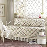 Brown, White, Pink and Green 5 Pieces Printed Quilted Daybed Set Made From Cotton, Trellis Pattern with Floral Accents and Vintage Style Included Cross Scented Candle Tart