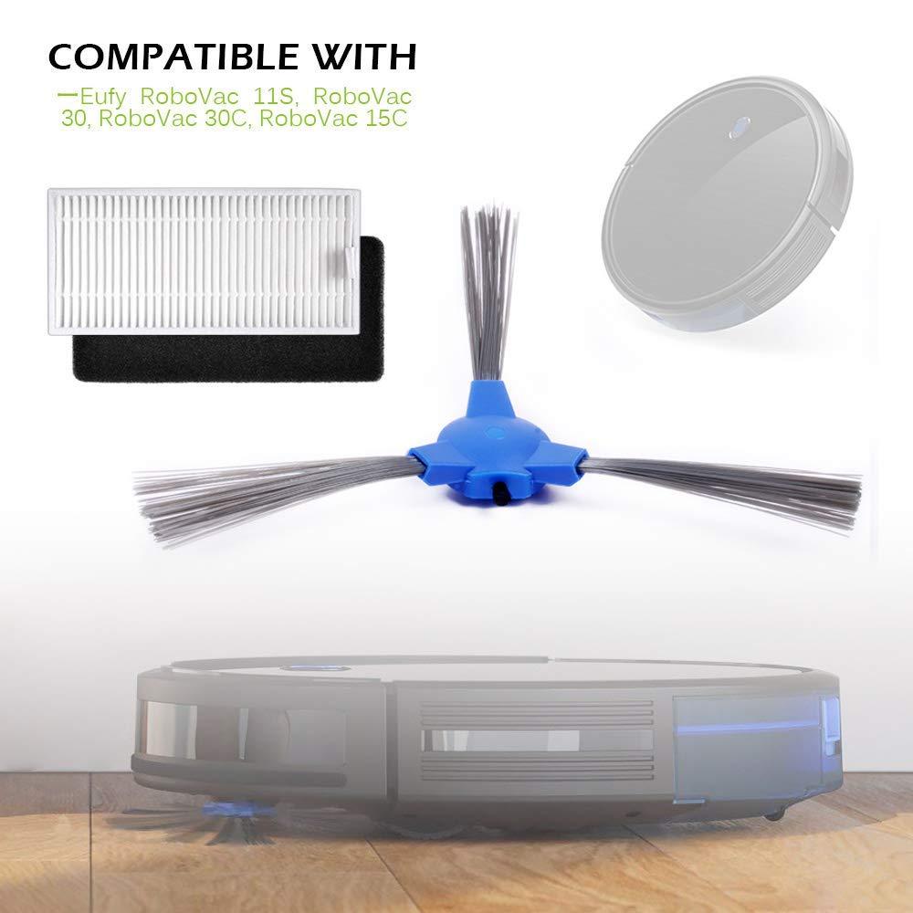 Kit de Accesorios de Repuesto para Cecotec Conga Excellence 1390 Robot Aspiradora, Material Premium, 6 Filtros + 6 Cepillos Laterales, Pack de 12 pcs de ...