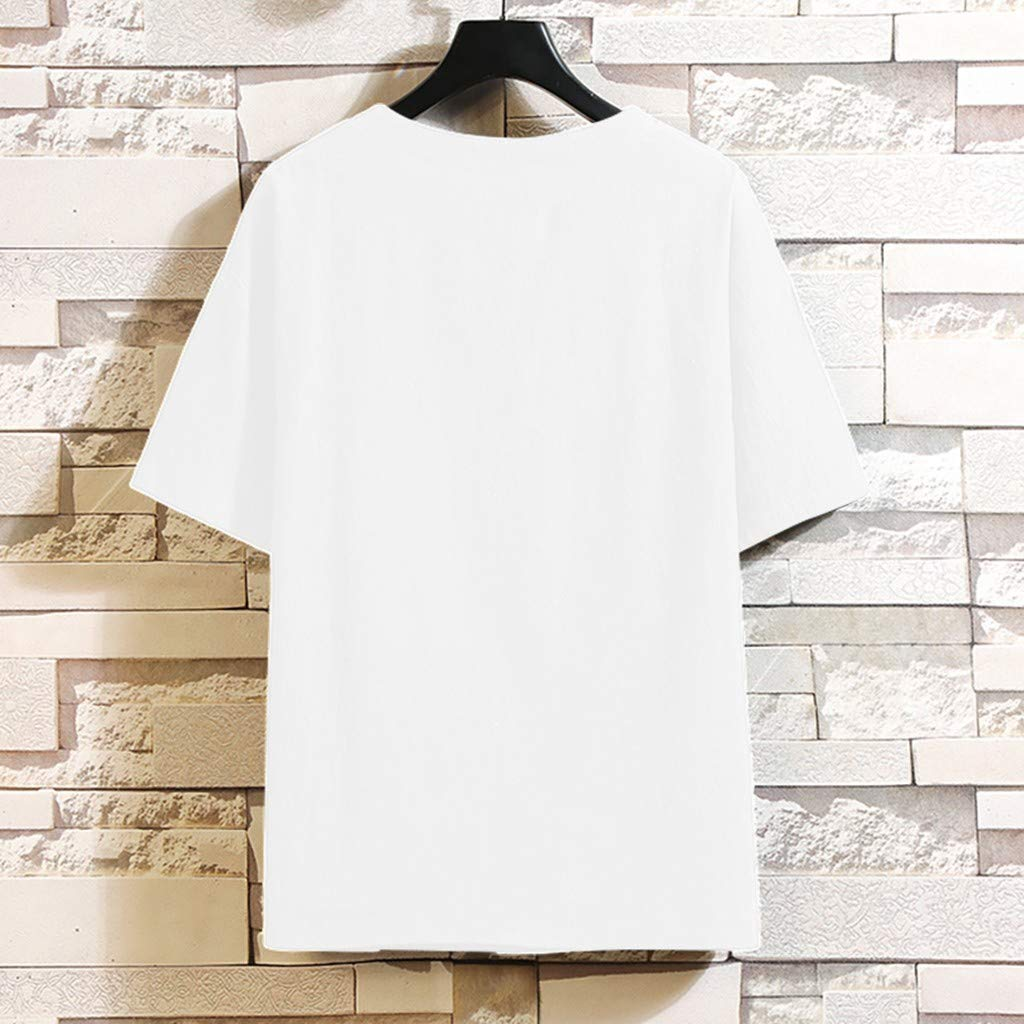 Gleamfut Mens Short Sleeve Shirts Cotton Linen Blouse for Men Solid Color Crew Neck Loose Casual T Shirt Tops
