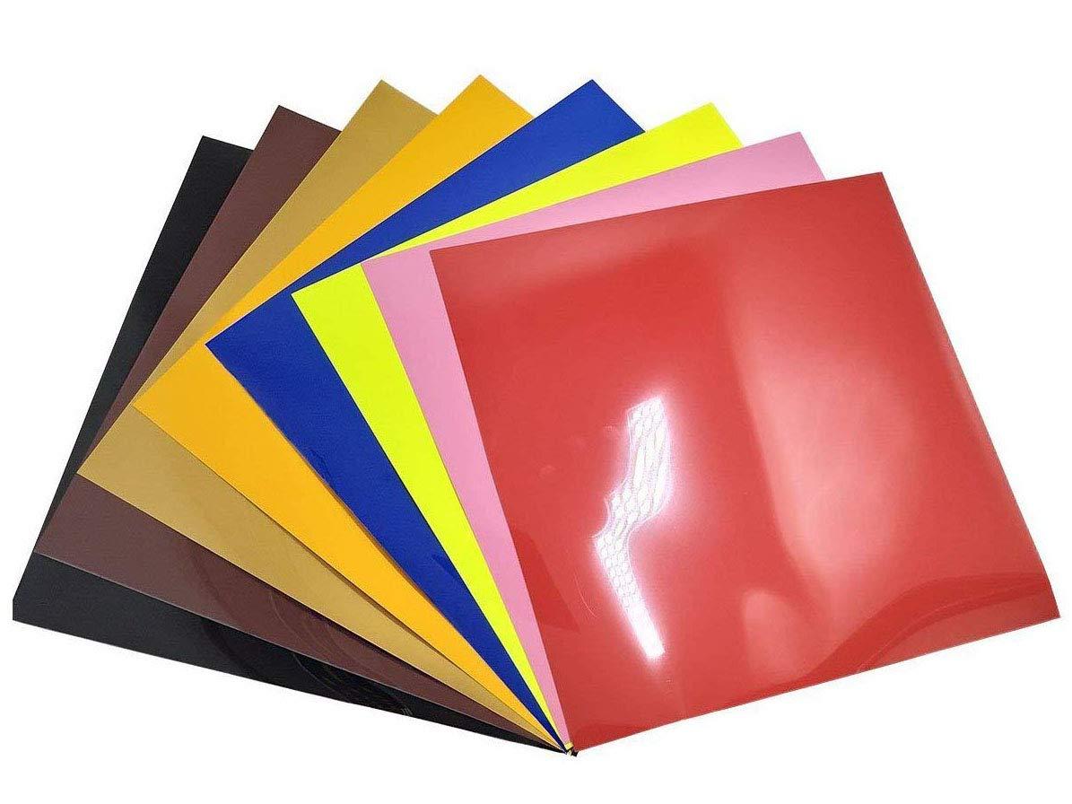 8 Sheets Easy WeedHeat Transfer Vinyl 25.5cm x 25.5cm -Adhesive Backed Vinyl Sheets, Permanent Glossy Vinyl HTV,Perfect for Silhouette Cameo, Cricut HTV,T-Shirt Iron on 8 pcs -Heat Transfer Viny