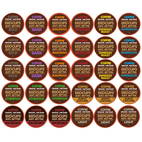 30-count EKOCUPS Organic & Fair Trade Gourmet Coffee Single Serve Cups for Keurig K Cup Brewer Variety Pack Sampler