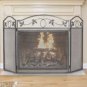 amazon com amagabeli 3 panel pewter wrought iron fireplace screen rh amazon com