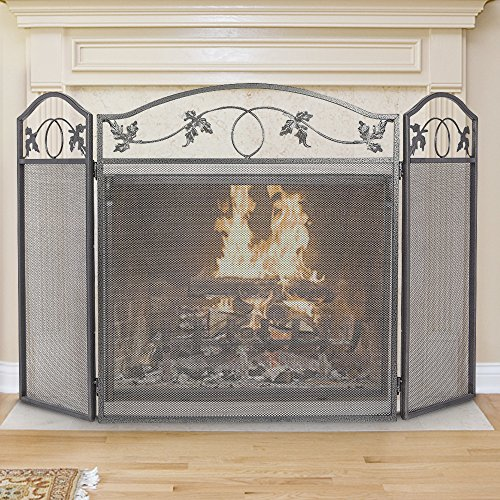 Amagabeli 3 Panel Pewter Wrought Iron Fireplace Screen Outdoor Metal Decorative Mesh Cover Solid Baby Safe Proof Fire Place Fence Leaf Design Steel Spark Guard for Fireplace Panels Accessories (Mesh Cover Fireplace Glass)