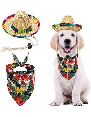 214398916f14 BINGPET Dog Sombrero Hat with Bandana Hawaii Style, Party Hats Sun Hat  Beach Mexican Hat