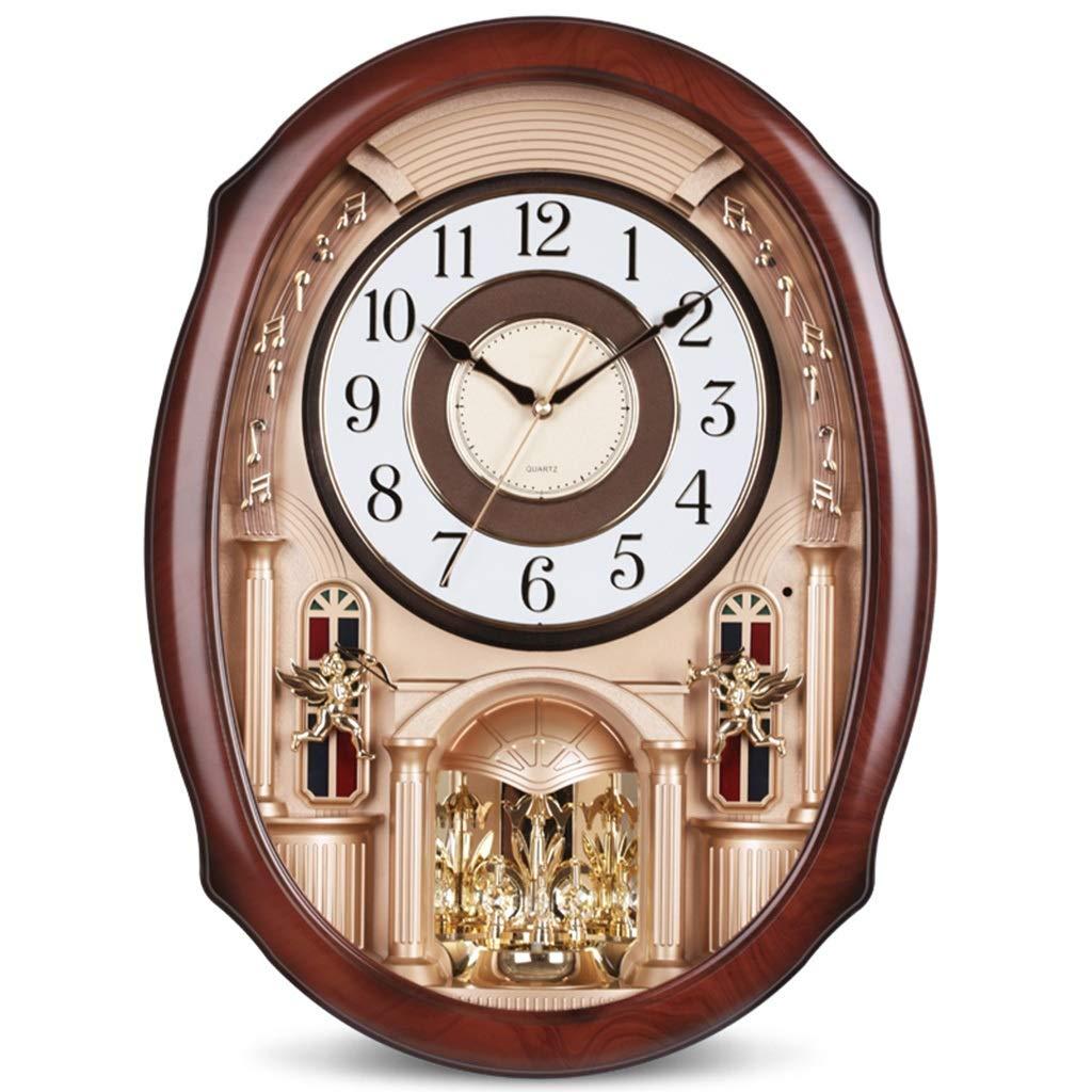 &掛け時計 壁時計24インチヨーロッパ振り子時計高級ミュート大きな壁時計動的音楽壁時計ターン振り子クラフトリビングルーム時計 &ホームクロック (色 : B)  B B07QSQDM6C