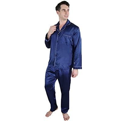2 PCS Set Super Silk Mens Silk Pajama / Lounge Top & Pants Set Dark Blue