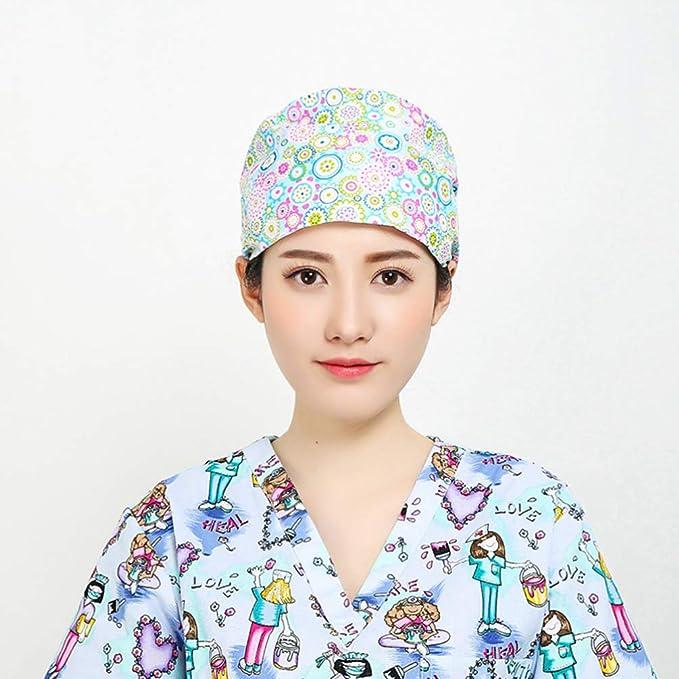 Fenical Peeling Cap Baumwolle Blumendruck Verstellbarer Puerpera Hut Chirurgischer Arzt Krankenschwester Schwei/ßabsorption Beanie Working Chef Cap