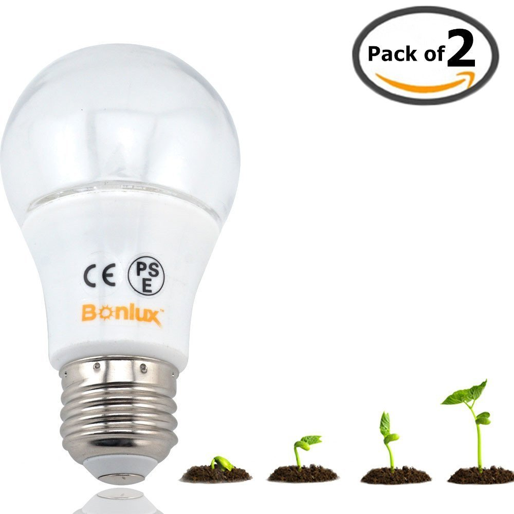 Bonlux A19 LED Plant Grow Light Bulb 5W Medium Screw Base E26 Full Spectrum LED Green Grow Bulb for Indoor Garden Greenhouse Hydroponic Flowers Vegetables Grow (Pack of 2)