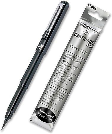 Pentel – Pluma estilográfica (punta de pincel), color negro: Amazon.es: Oficina y papelería