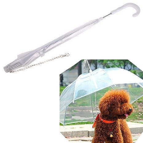 Wicemoon - Paraguas Transparente para Mascotas, Protección contra la Lluvia y la Nieve, con