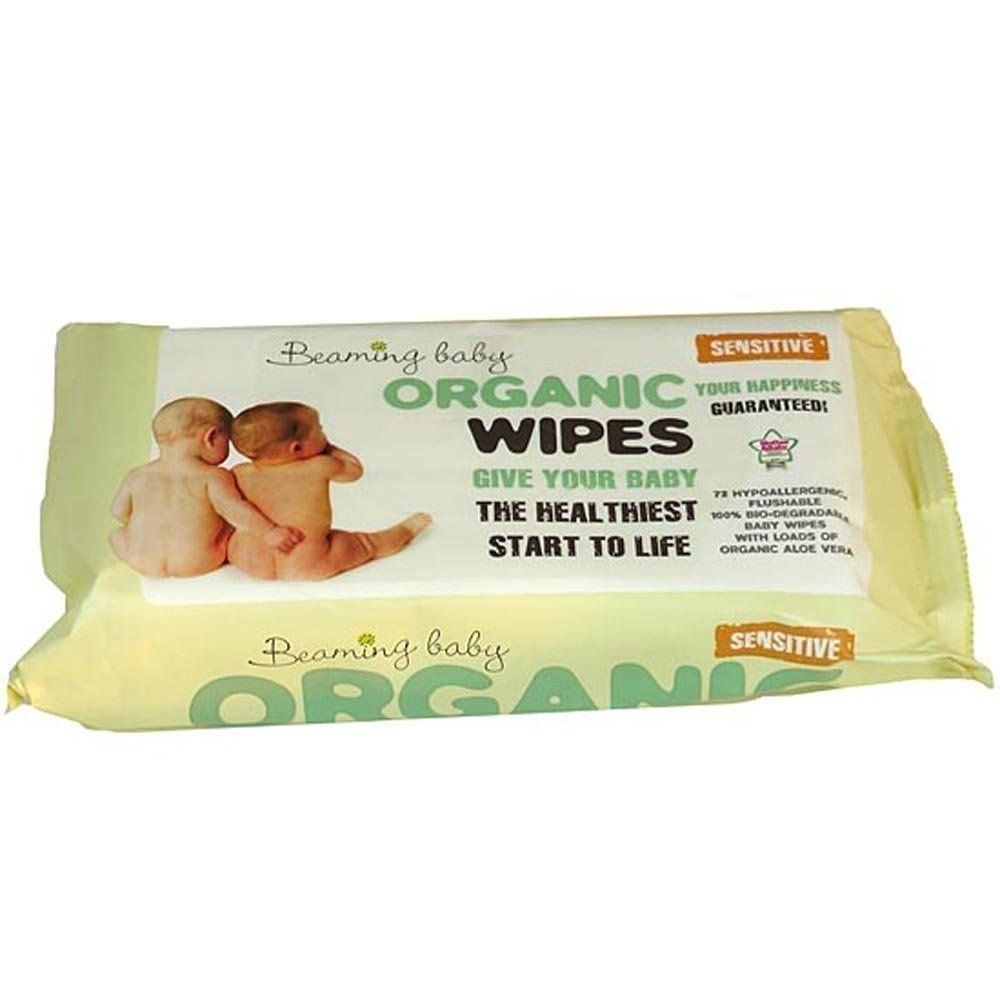 Beaming Baby Biodegradable Organic Baby Wipes Hypoallergenic & Aloe Vera (72 wipes per pack) 70001