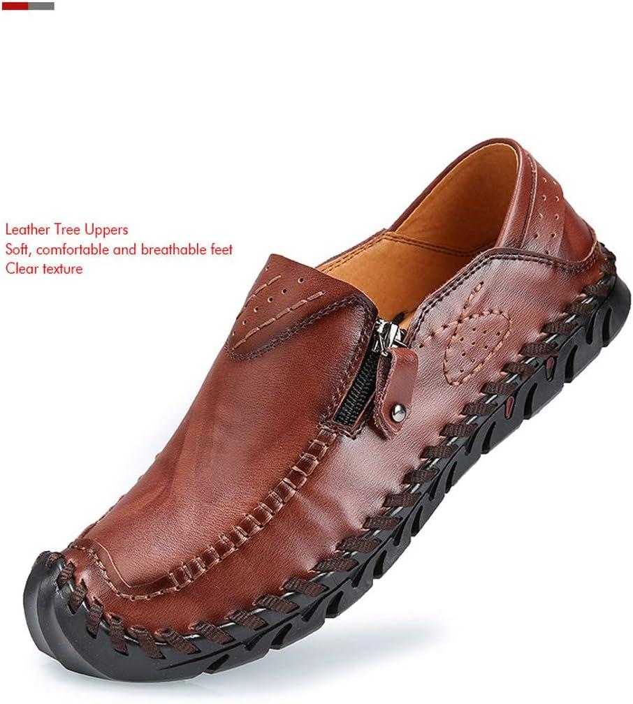 Jeff-chy heren leer comfortabele schoenen hand stiksel ritssluiting anti-slip vrijetijdsschoenen grote loafer boot sneaker driving schoenen Zwart