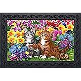 """Briarwood Lane Garden Kittens Spring Doormat Floral Indoor Outdoor 18"""" x 30"""""""
