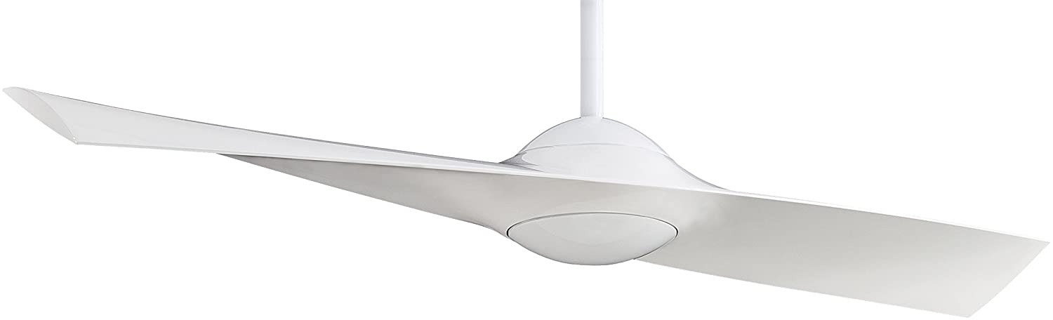 Minka-Aire F823-WH Downrod Mount, 2 White Blades Ceiling fan, High Gloss White